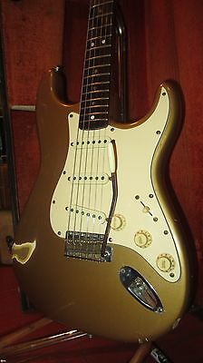 Vintage 1966 Fender Stratocaster Electric Guitar Gold w/ Original Case AMAZING!