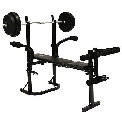Charles Bentley Home Multi Purpose Multi Gym Weight Bench With 50kg Weight Set