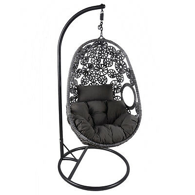 Bentley Garden Rattan Hanging Swing Chair With Floral Design With Cushion