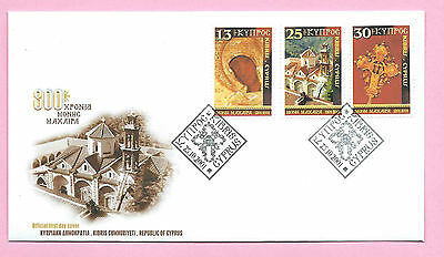 CYPRUS 2001 Official First Day Cover FDC - CHRISTMAS set of 3 - Handstamped