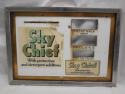Vintage- Sky Chief- Steel Gas Pump Face Plate & Frame
