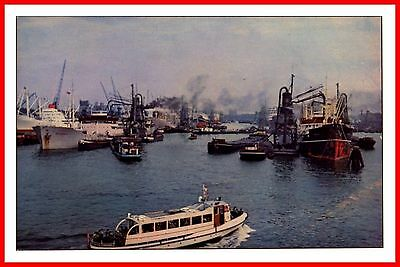 Rotterdam Netherlands - View On The Harbour Holland Vintage Postcard