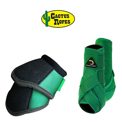 Medium Cactus Dynamic Edge Horse Front Leg Sport Bell Boots Pair Combo Green