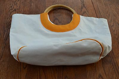 White /Yellow Flowers Cotton Reversible Knit Sew Beach Bag Open wood handles