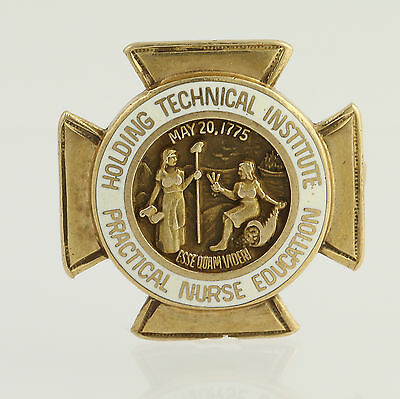 Holding Technical Institute Badge - 10k Yellow Gold Practical Nurse Education