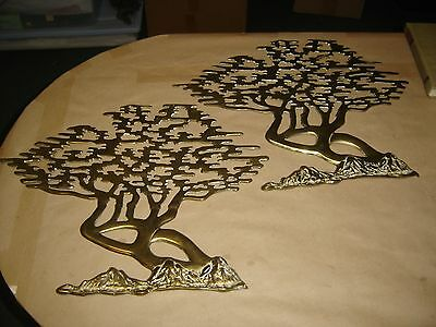 """Two (2) large 20"""" x 16"""" Brass Metal TREE sculptures, wall Art hangings"""