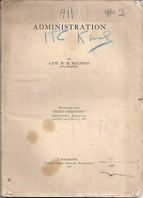 1917 29th INFANTRY Captain W. H. Waldron NIGHT OPERATIONS Infantry Journal