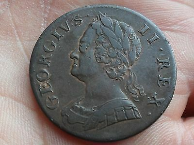 King George II Halfpenny dated 1753 excellent high grade