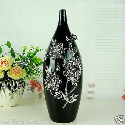 Modern Black+Silver Ceramic Height 40cm Home Accessories Decoration Vase