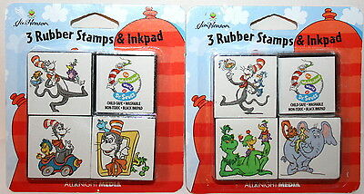 1998 Dr Seuss Cat in Hat 6 RARE rubber stamp set Grinch Horton Fishbowl NEW