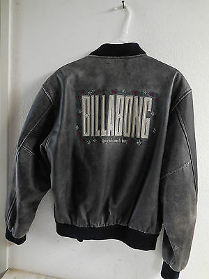 Vtg Surfing BILLABONG Leather Surfer Jacket w/ Embroidered Hawaiian Style / Sz L