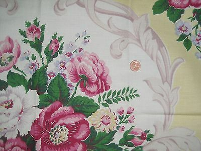 Gorgeous Vintage 40s barkcloth cotton Shabby roses scrolls fabric almost 3 YDS