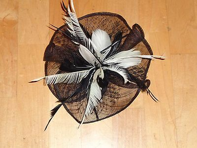 Black and White Fascinator Headpiece Hat Feathers and Netting Parties Church