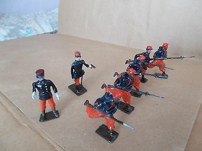 Painted Metal Ww1 - French Zouaves 5 Soldiers & 2 Officers  - 54Mm Approx