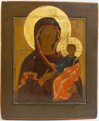 Old Antique Russian Icon of Smolenskaya Mother of God, 19th c