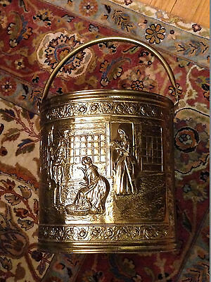 English Brass Bucket Fireplace Hearth Tools Log Wood Holder Carrier Pail Ash Can