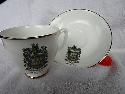 """Crested China  Tea Cup And Suacer  """"ryde I.o.w."""" Crest"""