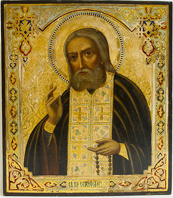 Old Antique Russian Icon of St. Seraphim Sarovskiy, 19th c