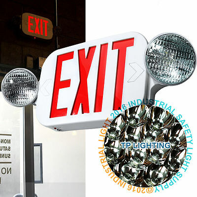LED Exit Sign & Emergency Light – High Output - RED Compact Combo UL924 COMBO