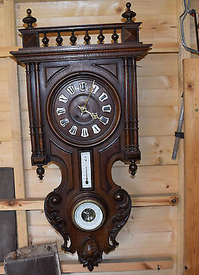antique  french black forest wall clock and barometer and thermometer