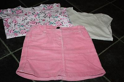 Girls Out Fit Corduroy Pink Skirt And 2 Long Sleeve Tops Age 4-5 Years