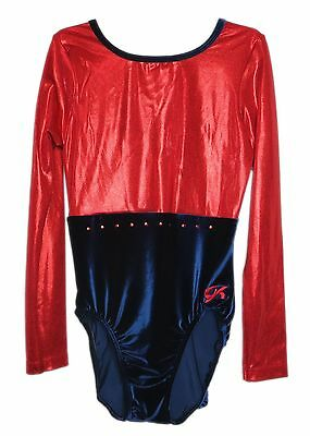 GK Elite Gymnastics Leotard - Long Sleeve Velvet - AXL Adult Extra Large NEW