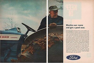 1967 Ford 5000 Blue Tractor Farm Ranch Farmer Comfort 2-Page Ad VTG A915