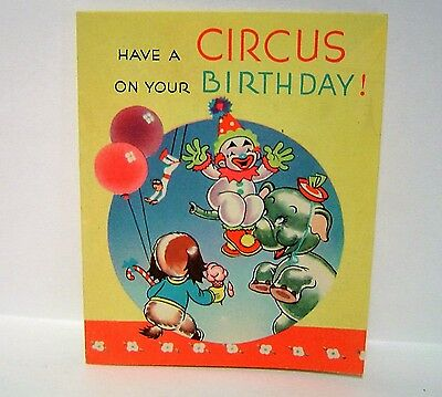 16 pg Vintage CIRCUS CLOWNS ELEPHANTS booklet Birthday Greeting Card by GRINNELL