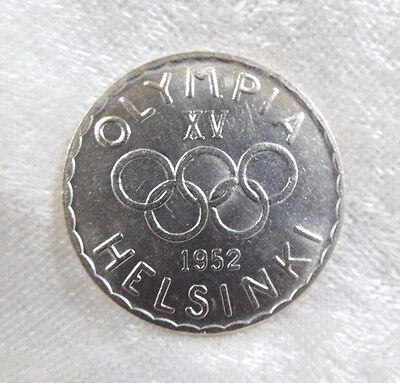 1952 FINLAND Helsinki Olympics Silver 500 Markaa Coin ALMOST UNCIRCULATED