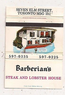 Barberian's Steak and Lobster House Seven Elm St. Toronto ON Ontario Matchcover