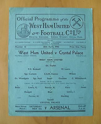 WEST HAM UNITED v CRYSTAL PALACE 1944/1945 *VG Condition Football Programme*