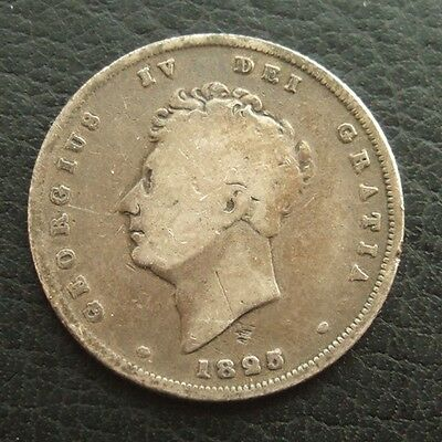 1825 GEORGE IV SHILLING : 2nd HEAD : BRITISH .925 STERLING SILVER COIN ...b33