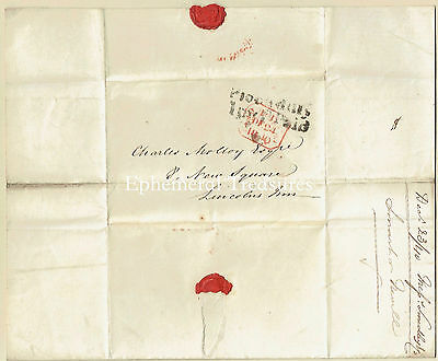 1840 entire to London (Charles Malloy).  Nice Piccadilly 1py P.Paid Cancel