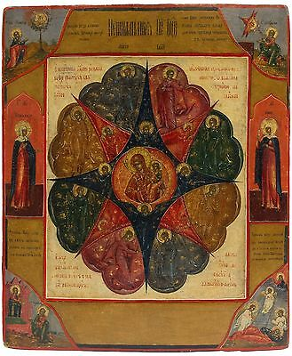 Old Antique Russian Icon of The Burning Bush Mother of God, 19th c