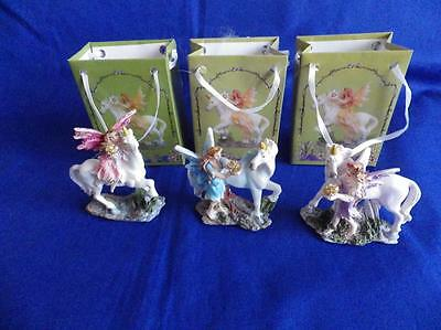 Set Of Three (3) Unicorns And Fairies In A Bag Ornaments / Figurine