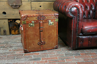 Finest Large Tan Leather Vintage Inspired Campaign Trunk Chest Side table