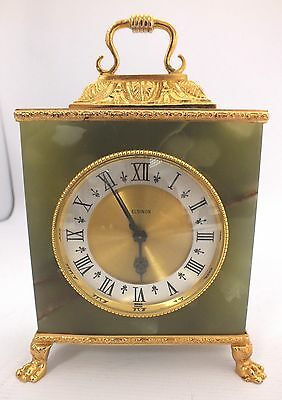 Vintage ELSINOR 8 Day ONYX Marble MANTLE CLOCK Gold Tone - D24
