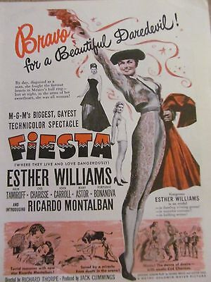 Fiesta, Esther Williams, Full Page Vintage Promotional Ad