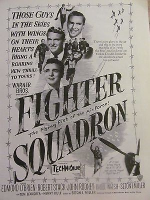 Fighter Squadron, Robert Stack, Edmond O'Brien, Full Page Vintage Promotional Ad