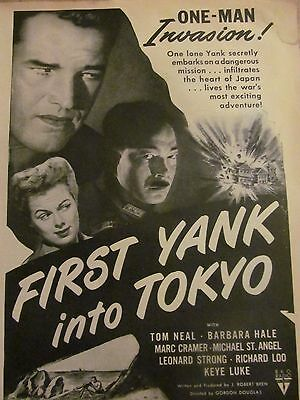 First Yank Into Tokyo, Tom Neal, Barbara Hale, Full Page Vintage Promotional Ad