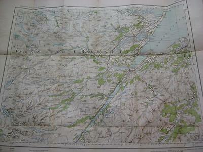 1914 Map Scotland Inverness Nairn Ross & Cromarty Loch Ness Very clean