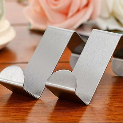 2PC Door Hook Stainless Kitchen Cabinet Clothes Hanger Silver