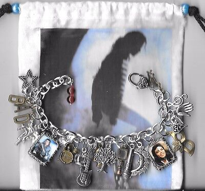 MICHAEL JACKSON  Inspired Charm Bracelet  Altered Art   Michael  Gift Bag