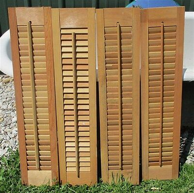 2 Pair Wood Shutters Victorian Window Louvers Plantation Door Mission Vintage v