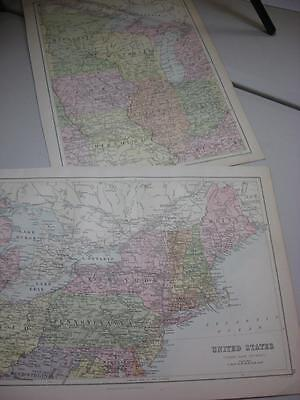 2 Maps Blacks atlas 1880s USA NE Section New York Maine Ohio Chicago Iowa