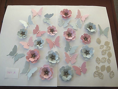 Handmade Flowers, Butterflies and Leaves  x 42 pcs .