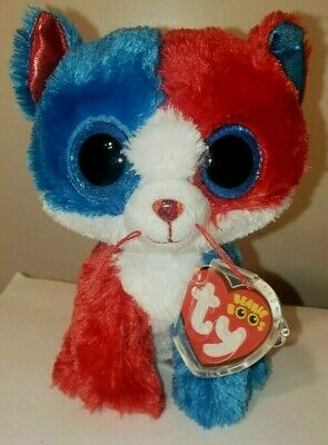 """Ty Beanie Boos Boo's ~ FIRECRACKER the 6"""" Patriotic Cat MWMT ~Claire's Exclusive"""