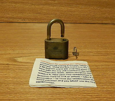 Brass Master Resettable Combination Padlock With Reset Key & Instructions