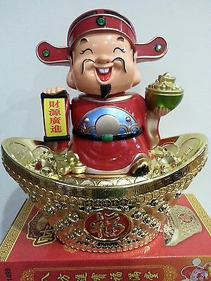 """13""""H Chinese Fengshui Mammon Money Wealth God Hold Yuan Bao Statue"""