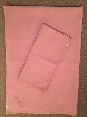 Pale Pink Table Cloth & 8 Matching Napkins. Embroidered Detail DML